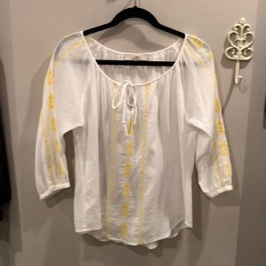 Loft White and Yellow shirt